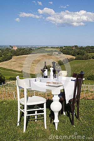 Table set outdoors