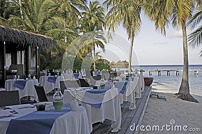 Table setting at a bar on a tropical island