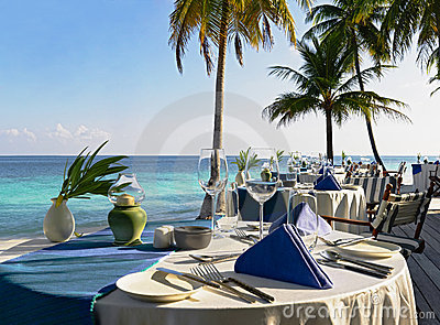 Table setting at beach restaurant