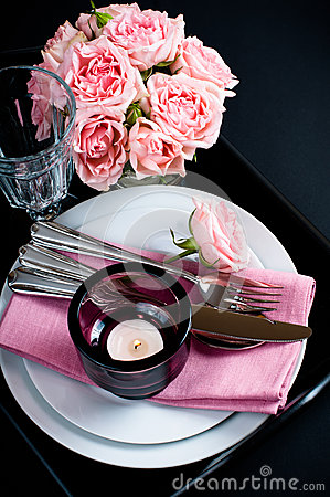 Table setting on black background