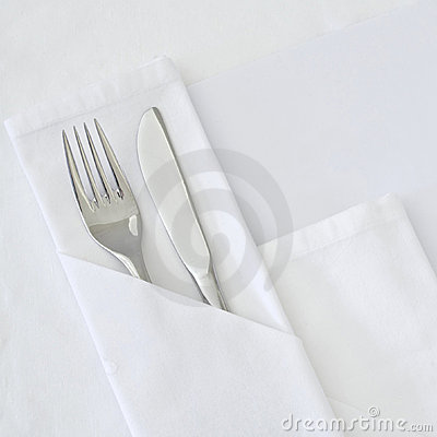 Table setting with blank menu card