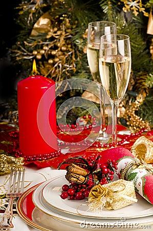 Table setting  for Christmas meal.