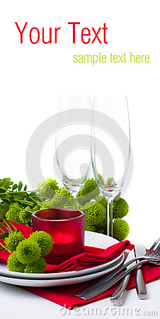 Table setting with chrysanthemums, ready template
