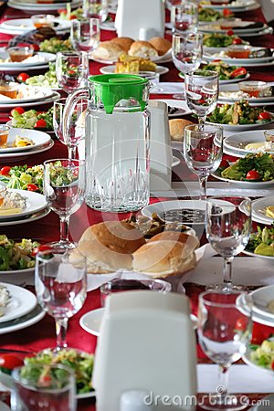 Table setting in a country side restaurant in Turkey