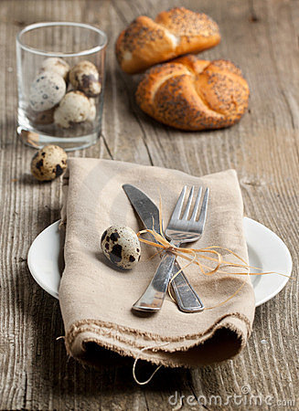 Table setting with eggs