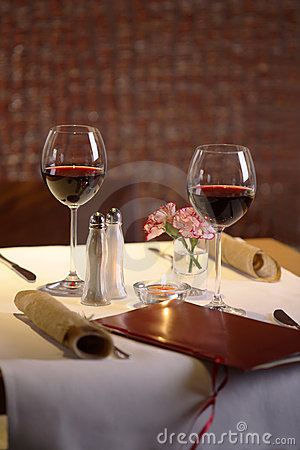Free Table Setting For Two With Wine Royalty Free Stock Photo - 1981055