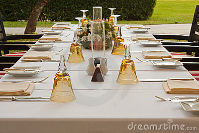 Table setting in garden