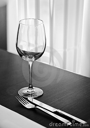 Table setting with glass