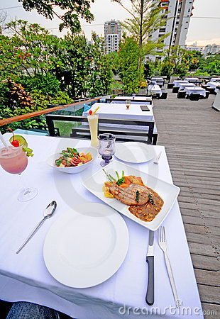 Table setting outdoor restaurant