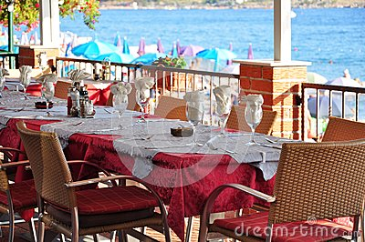 Table setting at seaside restaurant