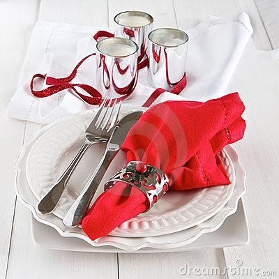 Table setting with silverware for Christmas