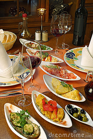 Table setting of Spanish tapas