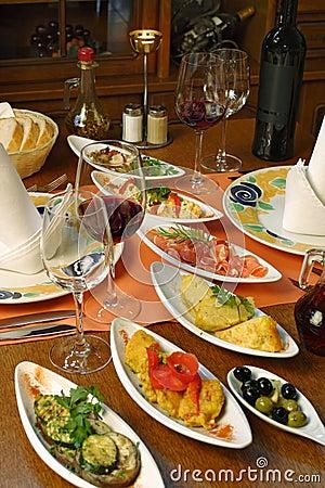 Table setting of Spanish tapas