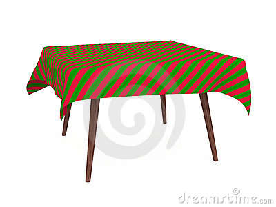 Table with striped tablecloth, red and green