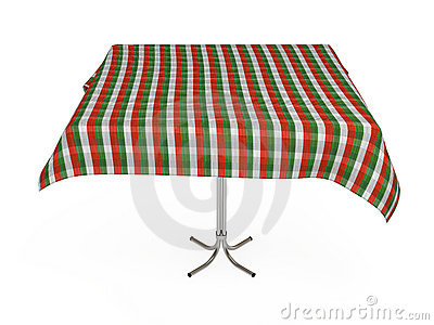 Table with stripped cloth, isolated, clipping path