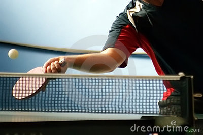 Table tennis player returning
