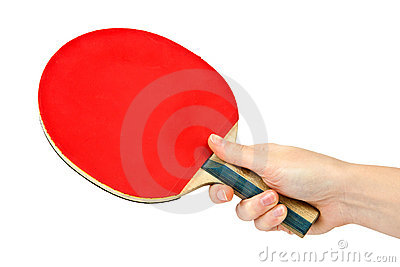 Table tennis racket on the hand
