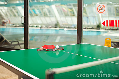 Table tennis rackets and ball swimmig pool