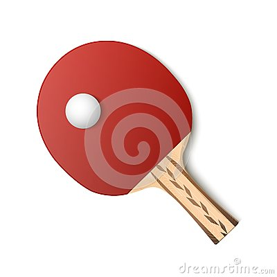 Table tennis red racket and ball isolated on white