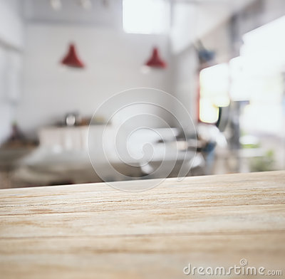 Free Table Top Counter Bar With Blurred Kitchen Background Royalty Free Stock Photography - 55556187