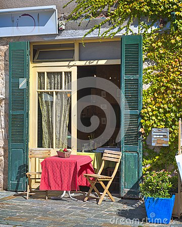 Table for Two with Red Tablecloth