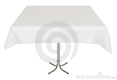 Table, white cloth, isolated, clipping path