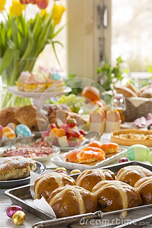 Free Table With Delicatessen Ready For Easter Brunch Stock Photography - 108874022