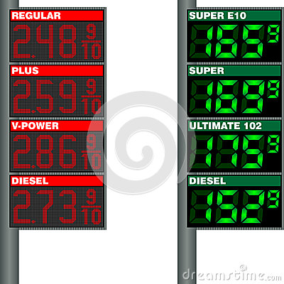 Free Table With The Price Of Gasoline At Gas Stations I Stock Images - 34762874