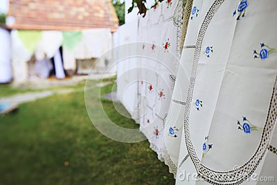 Tablecloth drying on a wire