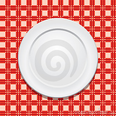 Tablecloth and empty plate