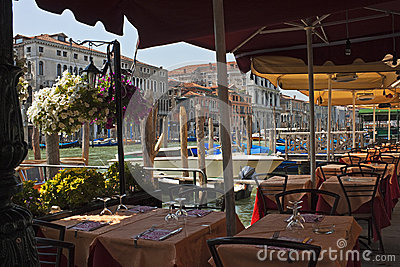 Tables along the Grand Canal, Venice