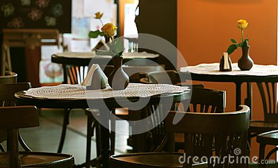 Tables in the cafe