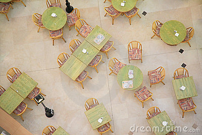 Tables in cafe from top view