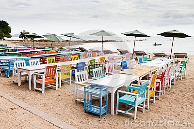 Tables, chairs, colorful seaside