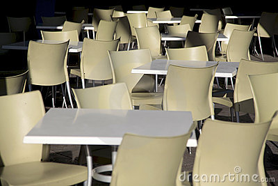 Tables and chairs empty nobody