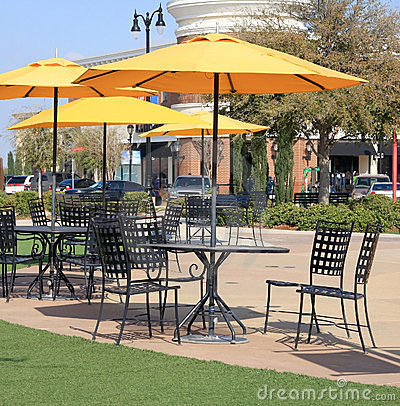 Tables and chairs unbrella in the park