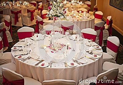 Tables de réception de mariage