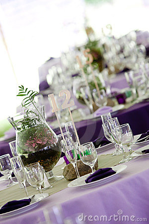 Tables in Green and Purple