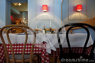 Tables in Italian restaurant