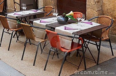 Tables of a Provence restaurant