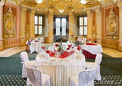 Tables set for a festive dinner