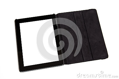 Tablet in black carrying case