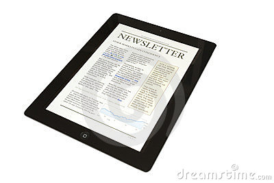 Tablet with business newsletter