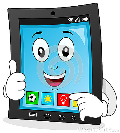 Tablet Character Showing a New App