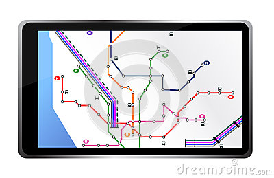 Tablet with city map illustration design
