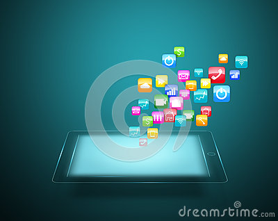 Tablet with cloud of colorful application icons