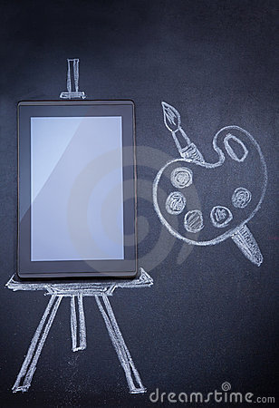 Free Tablet Computer As Easel For Painting Royalty Free Stock Photos - 22854438