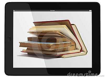 Tablet Computer and book - Digital Library Concept