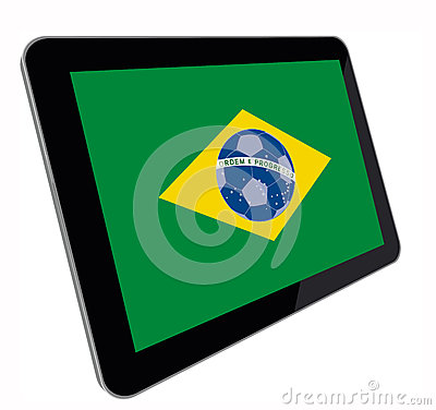 Tablet computer with Brazilian flag perspective