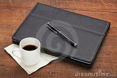 Tablet computer with coffee